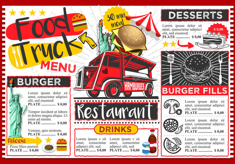 Jedzenie Ciężarowego festiwalu menu szablonu Wektorowy projekt ilustracja wektor