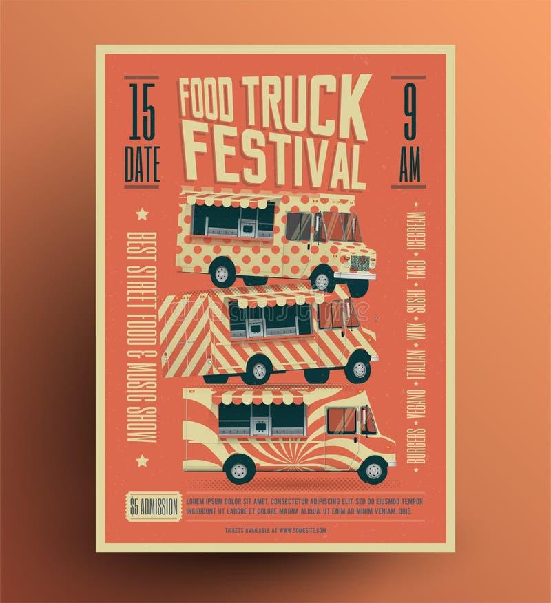 Jedzenie Ciężarowego Ulicznego Karmowego festiwalu ulotki Plakatowy szablon Rocznik projektująca wektorowa ilustracja ilustracja wektor