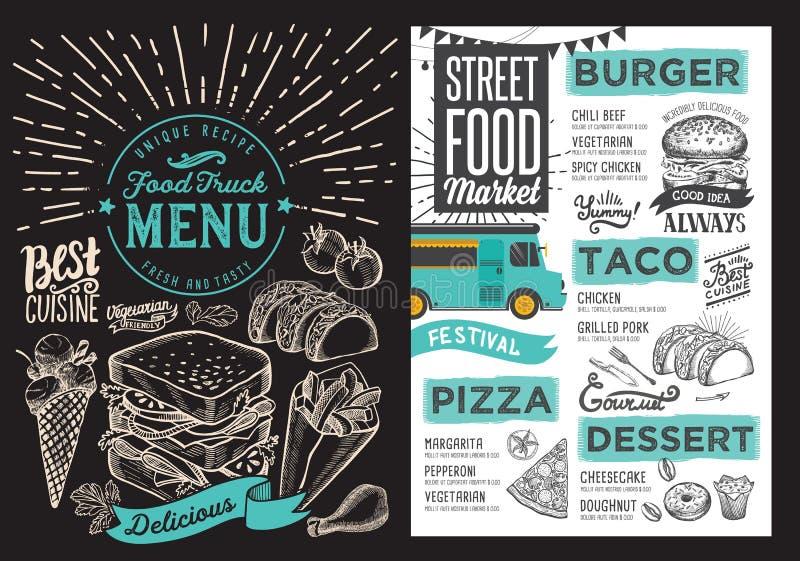 Jedzenie ciężarowy menu dla ulicznego festiwalu na blackboard tle de royalty ilustracja