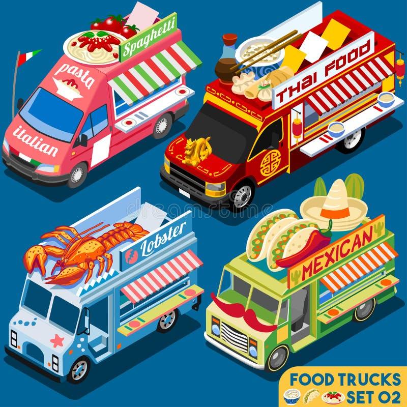 Jedzenie Ciężarowy Set02 pojazd Isometric ilustracji