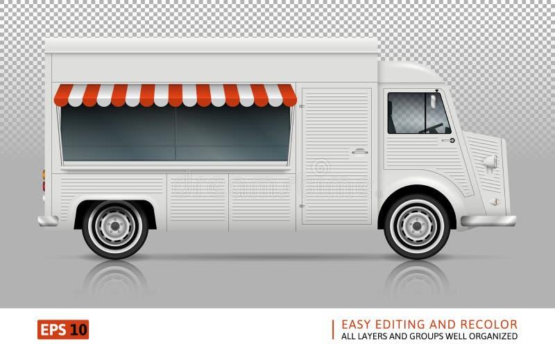 Jedzenie Ciężarowy widok od prawej strony ilustracja wektor
