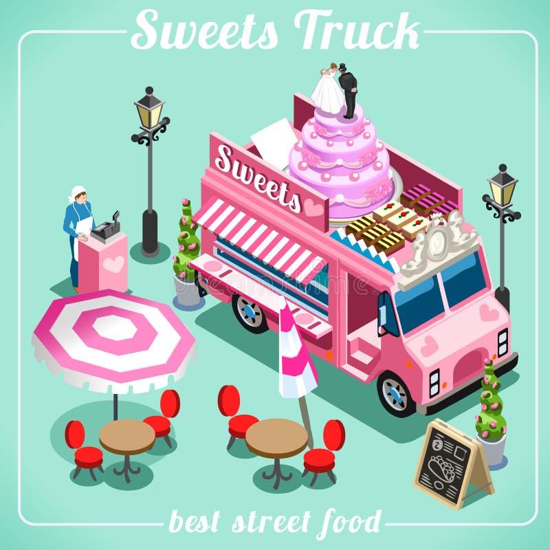 Jedzenie cukierku 3D Ciężarowi Isometric pojazdy ilustracja wektor