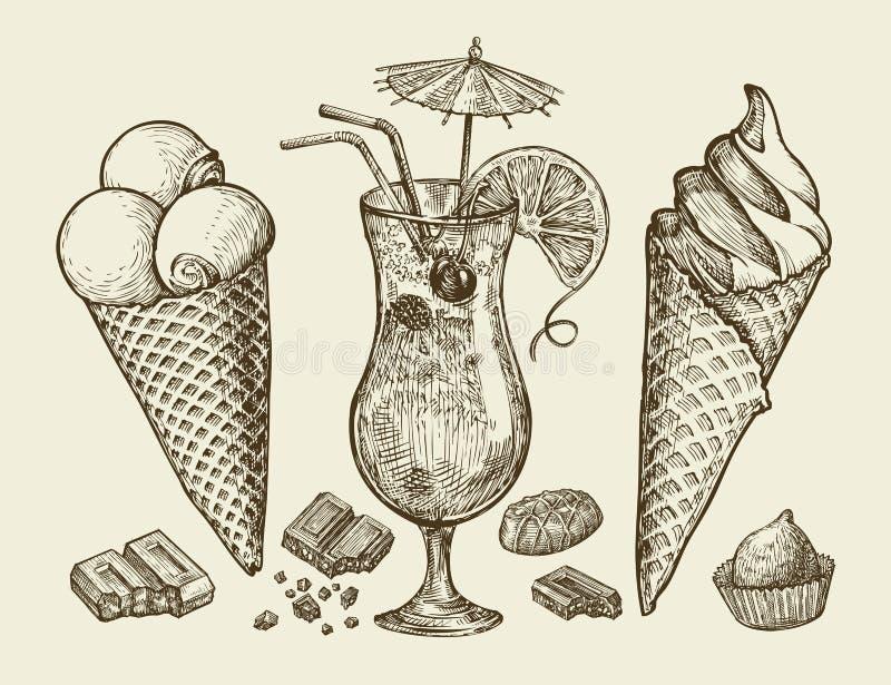 Jedzenie, deser, napój Wręcza patroszonego rocznika lody, sundae, czekolada, cukierek, koktajl, lemoniada Nakreślenie wektor royalty ilustracja