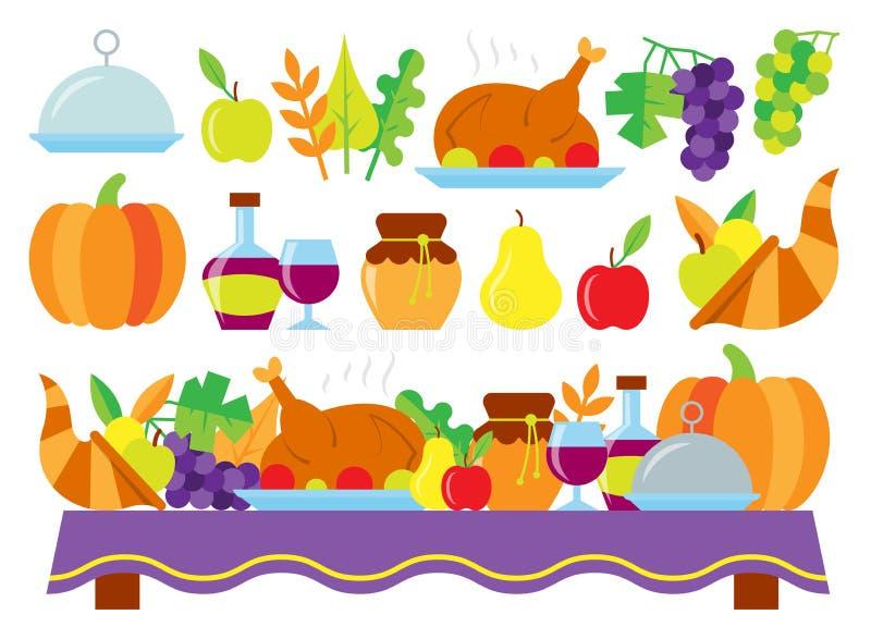 Jedzenie dla dziękczynienie gościa restauracji na wakacyjnym stole ilustracji