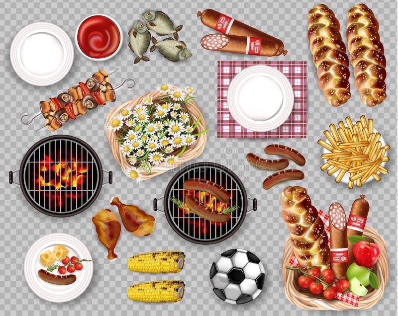 Jedzenie dla pinkinu bbq ustalonej kolekci odizolowywał wektor Mięso, chleb, dłoniaki, ryba i talerze, royalty ilustracja