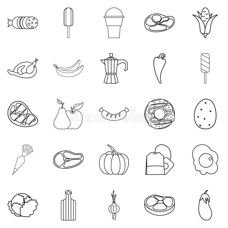 Jedzenie dla Wszystkie ikon ustawiać, konturu styl ilustracja wektor
