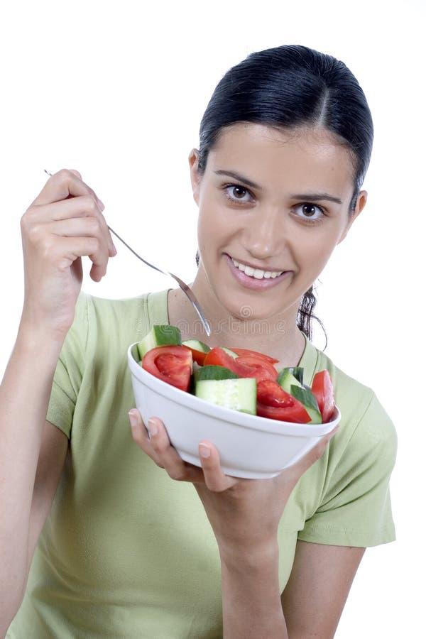 jedzenie dziewczyny sałatkę zdjęcia royalty free