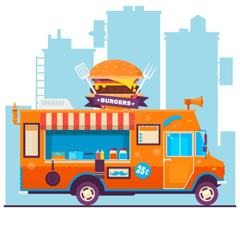 Jedzenie festiwalu ciężarowego menu karmowa broszurka, uliczny karmowy szablonu projekt Uliczny karmowy samochód dostawczy Wektor ilustracja wektor