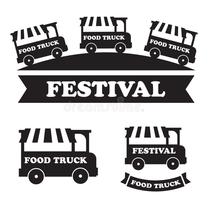 Jedzenie festiwalu ciężarowi emblematy i logowie ustawiający ilustracja wektor