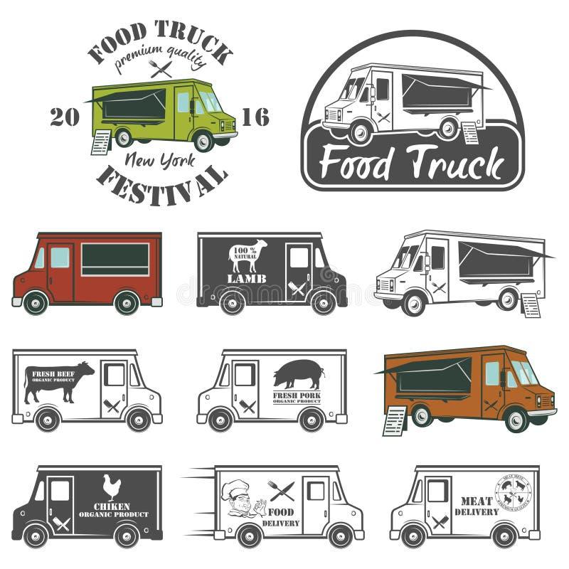 Jedzenie festiwalu ciężarowi uliczni emblematy i logowie ustawiający ilustracji