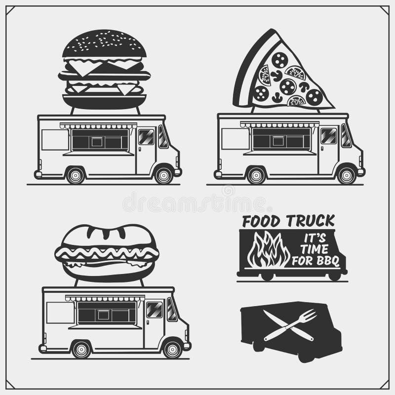 Jedzenie festiwalu ciężarowi uliczni emblematy, odznaki, logowie i projektów elementy, ilustracji
