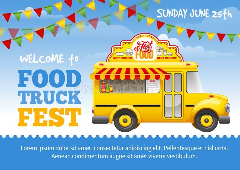 Jedzenie festiwalu ciężarowy plakat royalty ilustracja