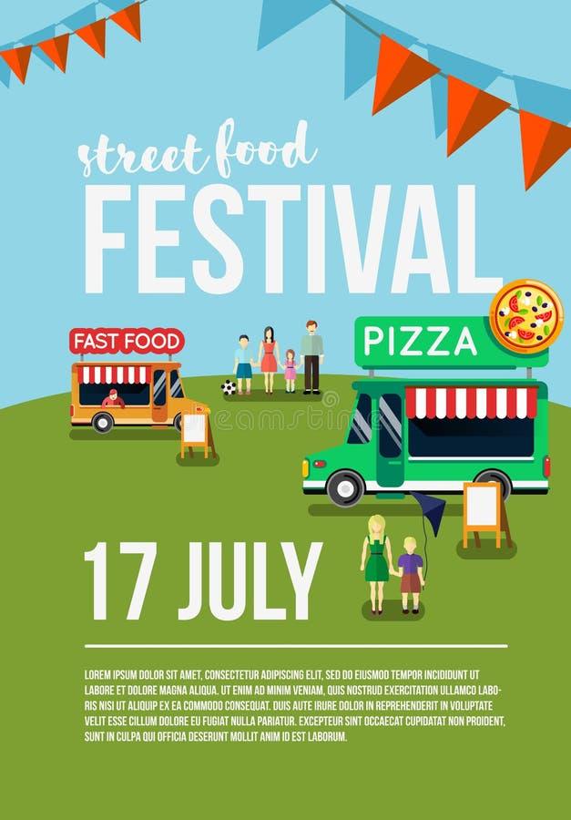 Jedzenie festiwalu wydarzenia ciężarowa ulotka royalty ilustracja