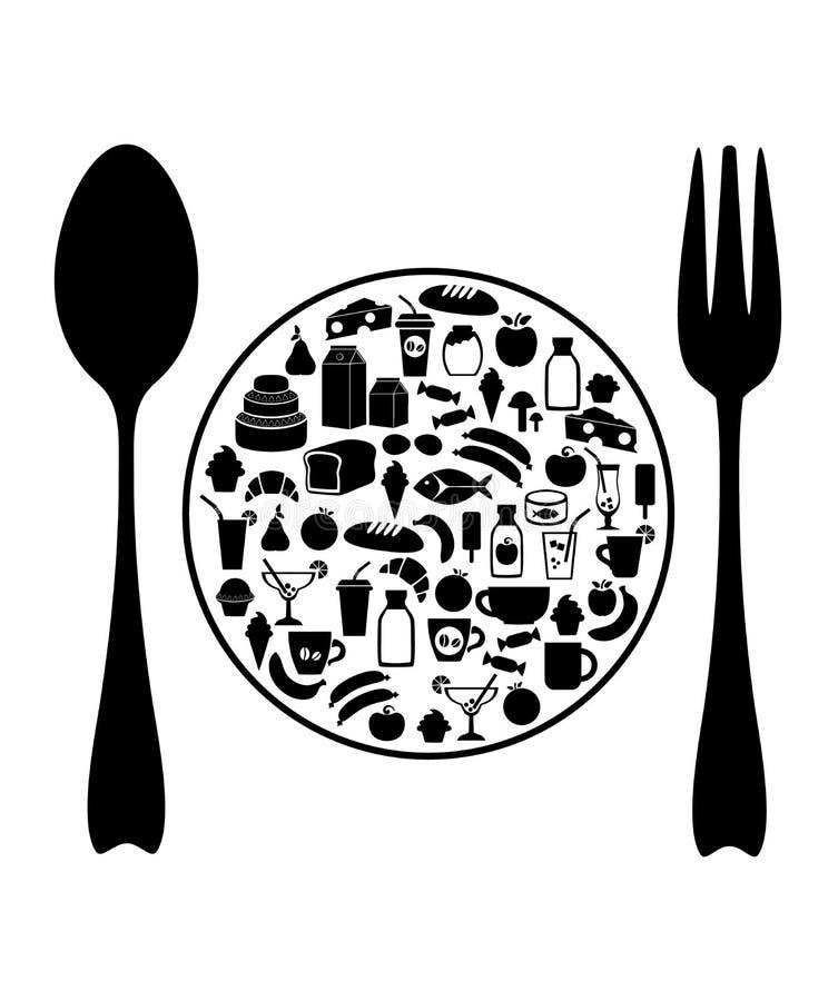 Jedzenie grocery Wektorowa ilustracja odizolowywająca na biały tle ilustracji