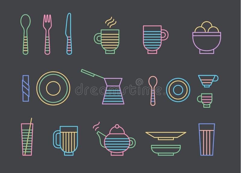 Jedzenie i dinnerware ustawiający ikony w kreskowych wektorowych grafika Łyżka, rozwidlenie, nóż, filiżanka, talerz, szkło, cezve ilustracji