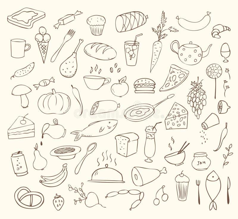 Jedzenie i kucharstwo set royalty ilustracja
