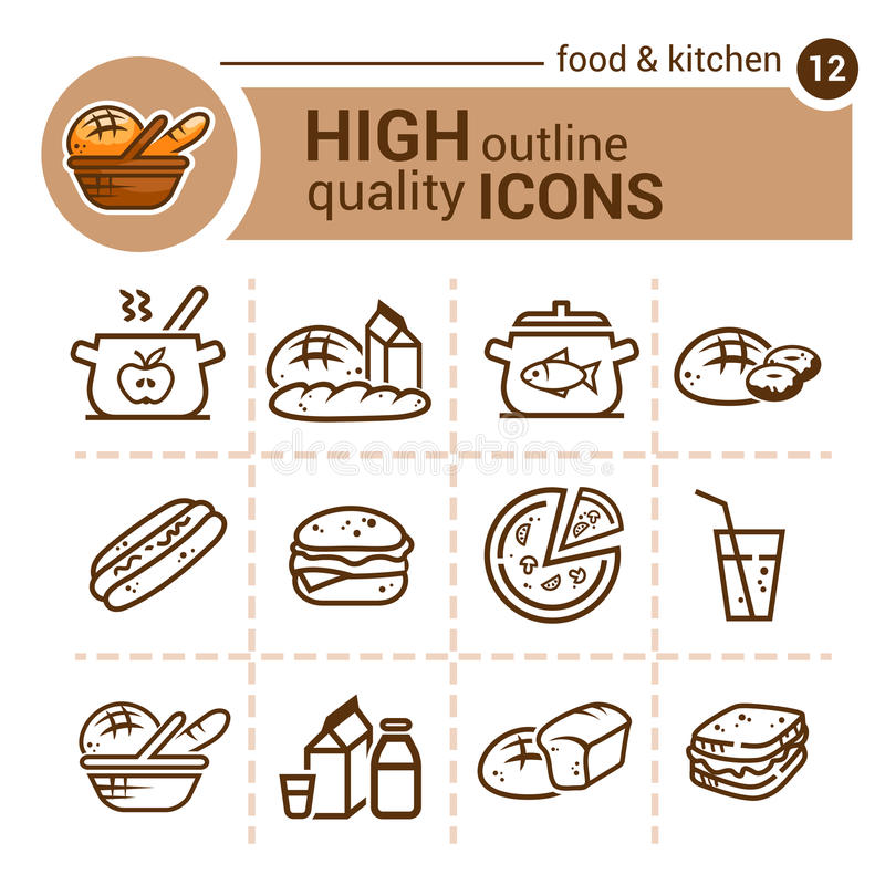 Jedzenie i kuchnia set ilustracja wektor