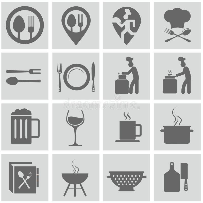 Jedzenie i kulinarny ikona set ilustracja wektor
