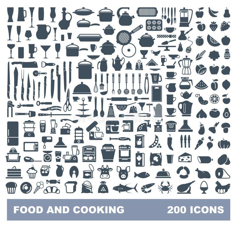 Jedzenie i Kulinarny płaski ikona set Wektorowy liiustration ilustracji