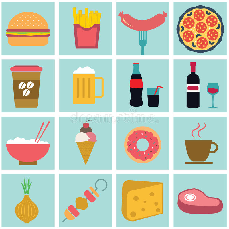 Jedzenie i kulinarny przepis ikony set ilustracji