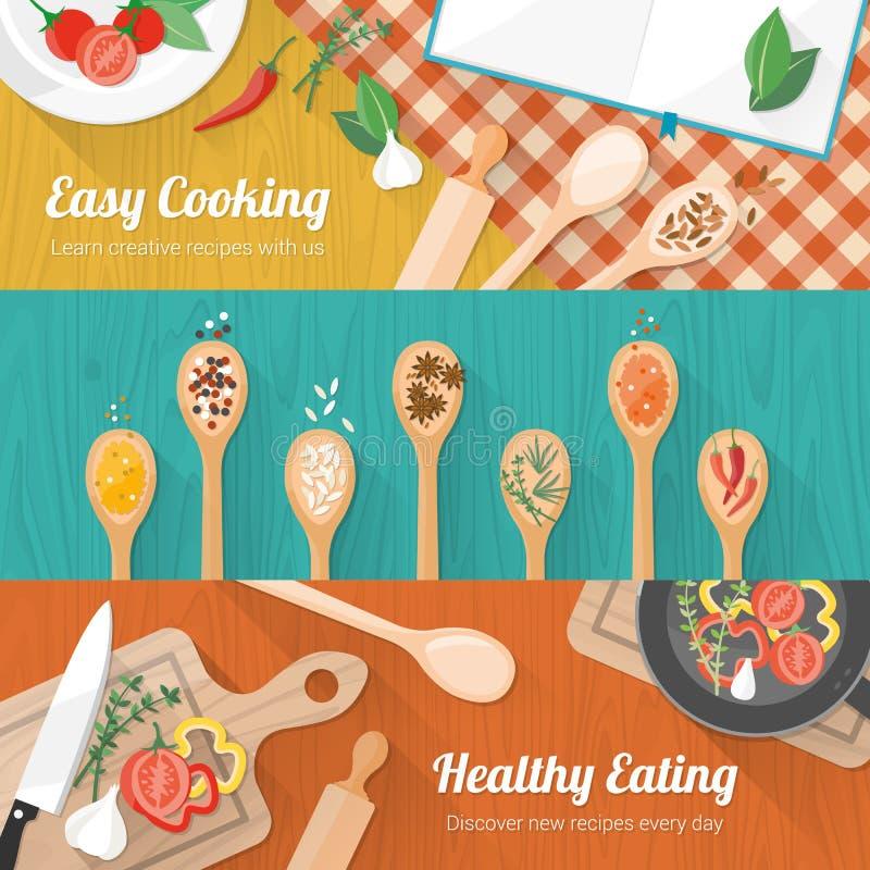 Jedzenie i kulinarny sztandar ilustracji