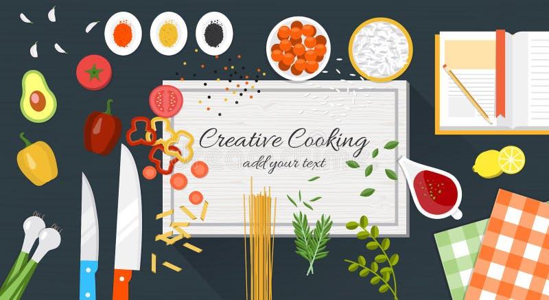 Jedzenie i kulinarny sztandar ilustracja wektor