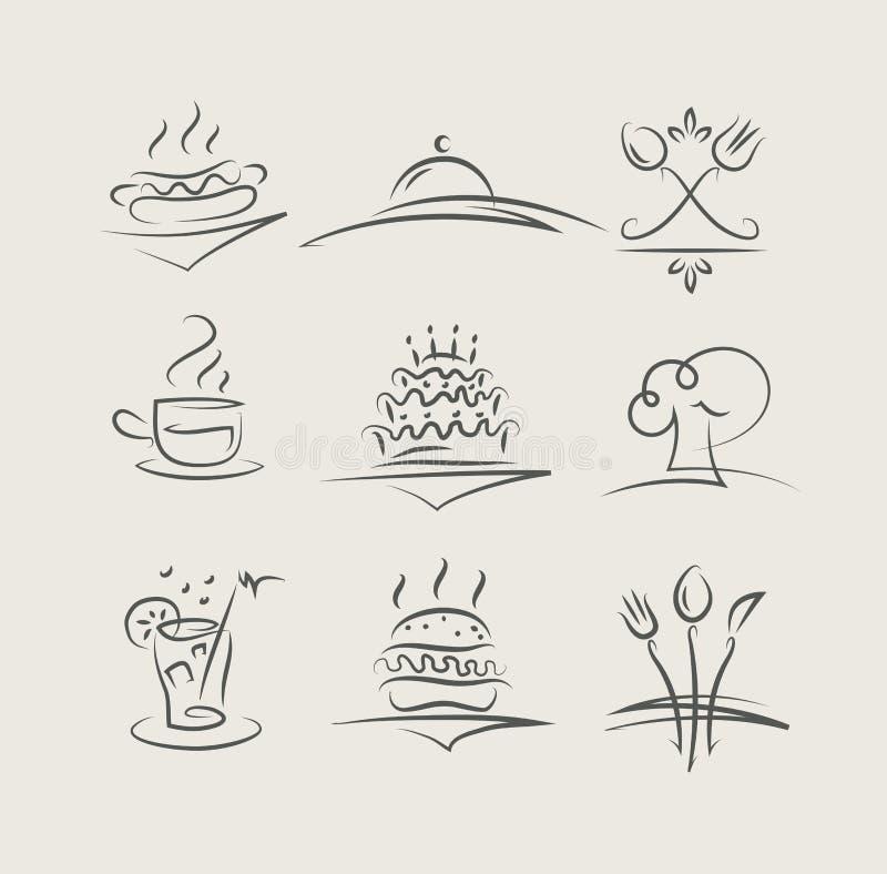 Jedzenie i naczynia ustawiający wektorowe ikony ilustracji