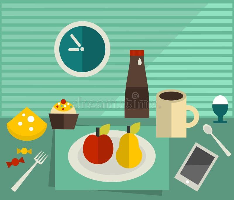 Jedzenie i napój na stole. royalty ilustracja
