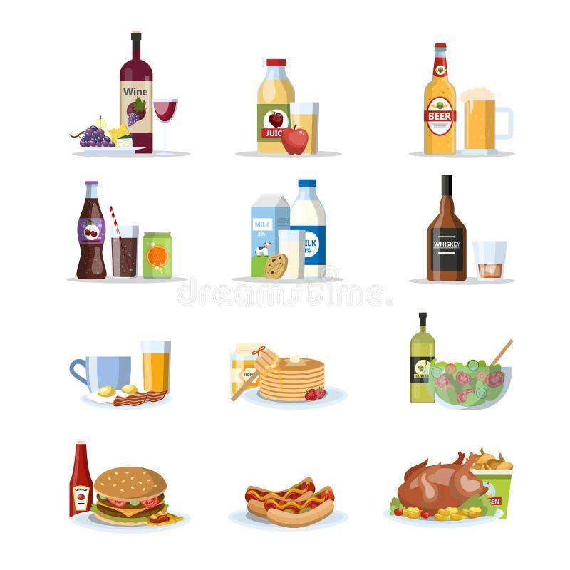 Jedzenie i napoje ustawiający ilustracji