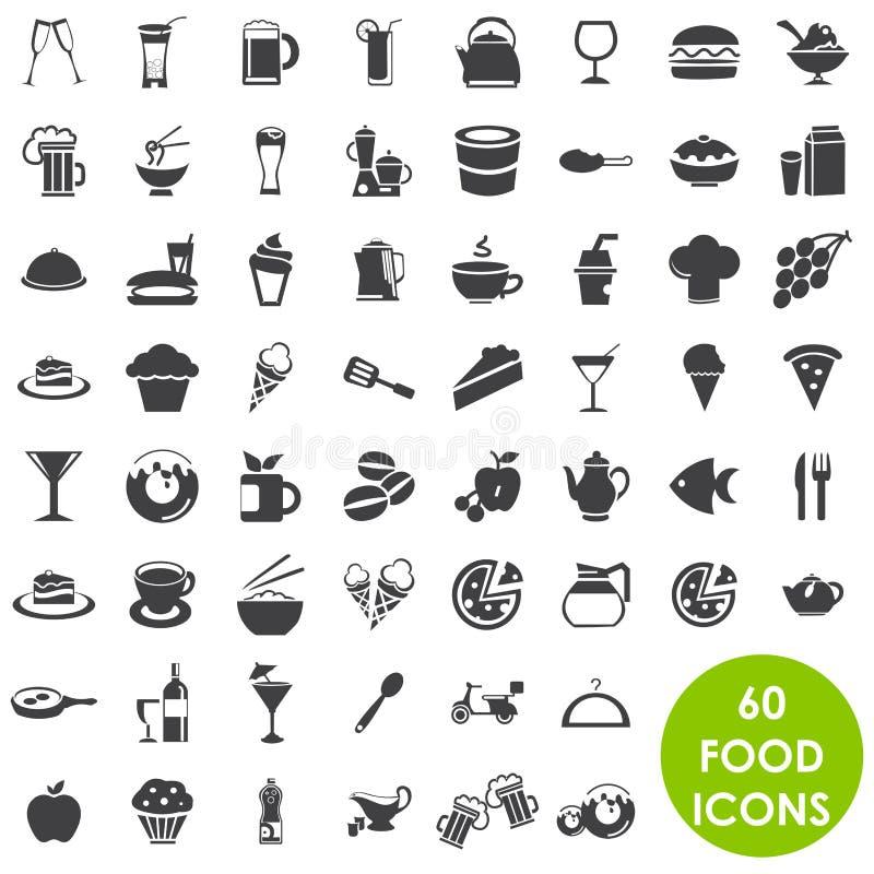 Jedzenie i napoju ikony   ilustracji