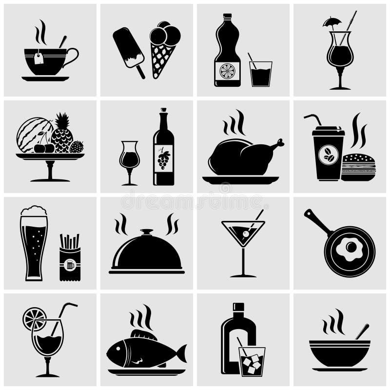 Jedzenie i napoju ikony royalty ilustracja