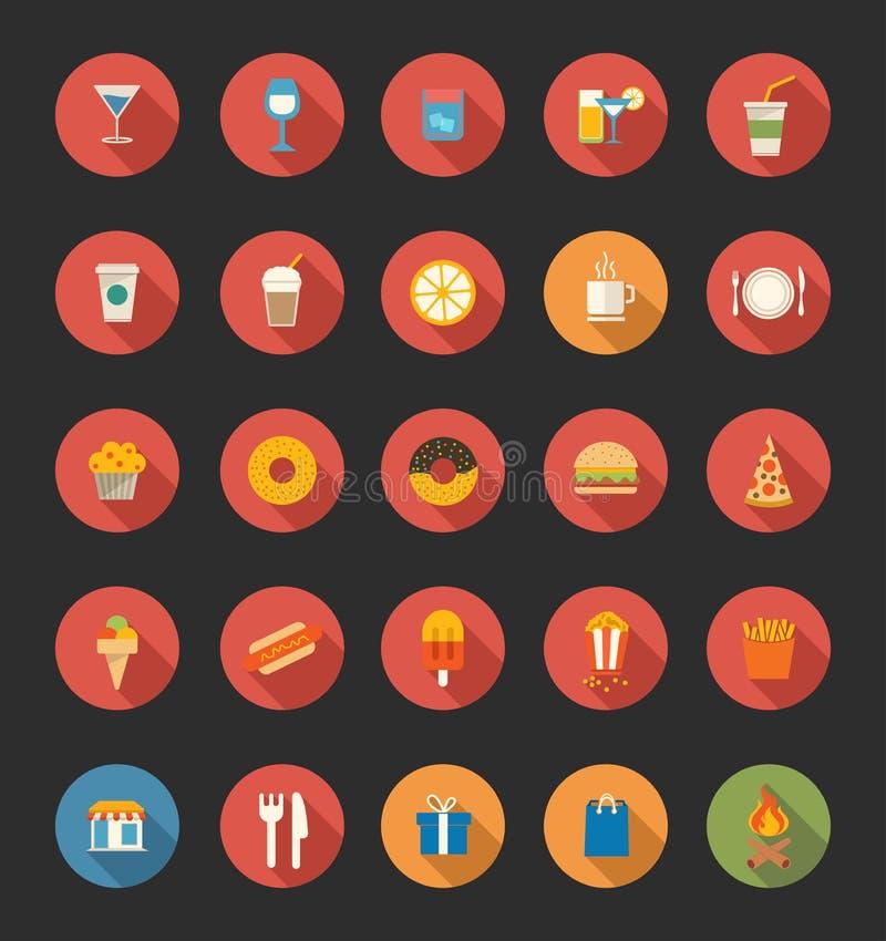 Jedzenie i napoju ikony ilustracja wektor