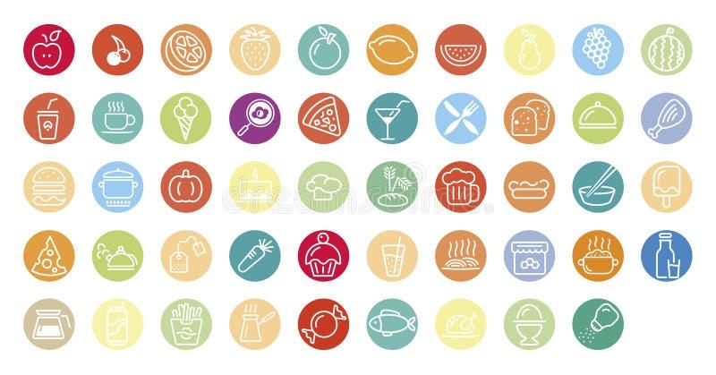 Jedzenie i napoju ikony zdjęcie stock