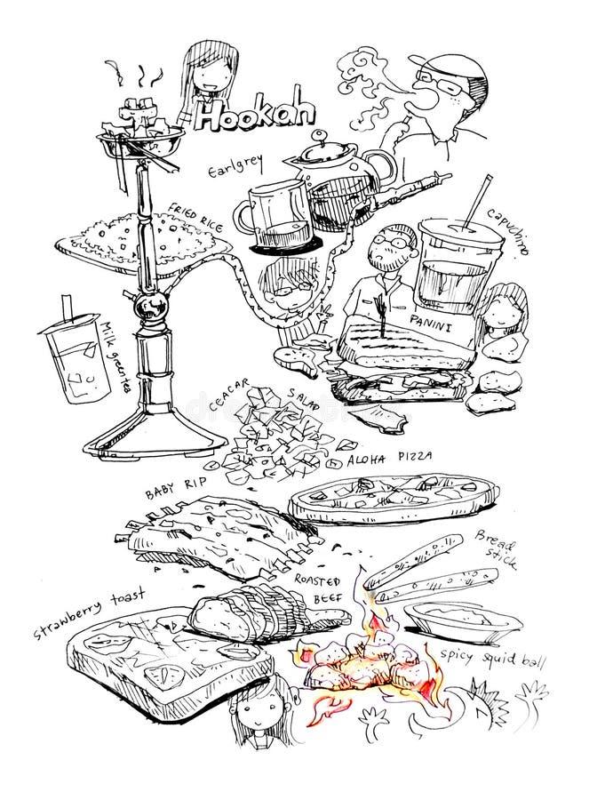 Jedzenie i przyjaciele ilustracyjni royalty ilustracja