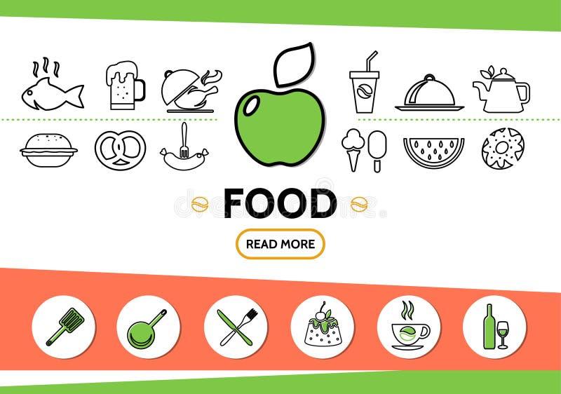 Jedzenie ikon Kreskowy szablon royalty ilustracja