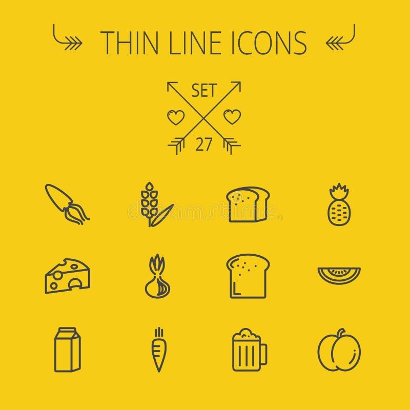 Jedzenie ikony cienki kreskowy set ilustracji