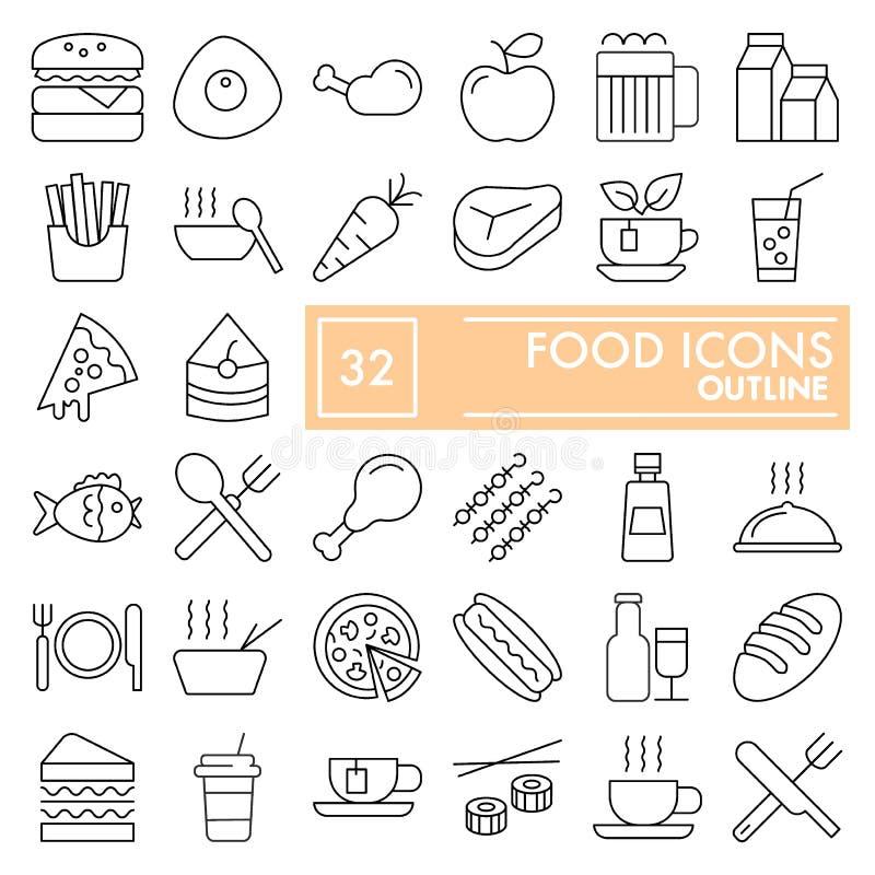 Jedzenie ikony cienki kreskowy set, naczynie symbole kolekcja, wektor kreśli, logo ilustracje, posiłków znaków liniowi piktogramy ilustracja wektor