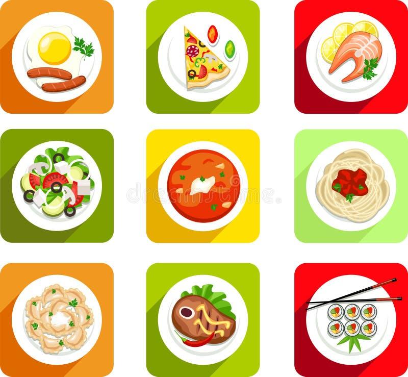 , jedzenie, ikony mieszkanie, odgórny widok, rozdrapani jajka, kiełbasy, pizza, ryba, łosoś, sałatka, polewka, polewka, makaron,  royalty ilustracja