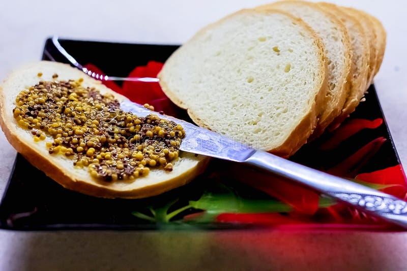Jedzenie, kanapki z słoistą musztardą, zakąska na talerzu zdjęcia stock