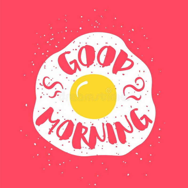 Jedzenie karta z smażącym jajka i literowanie teksta dniem dobrym na czerwonym tle również zwrócić corel ilustracji wektora royalty ilustracja