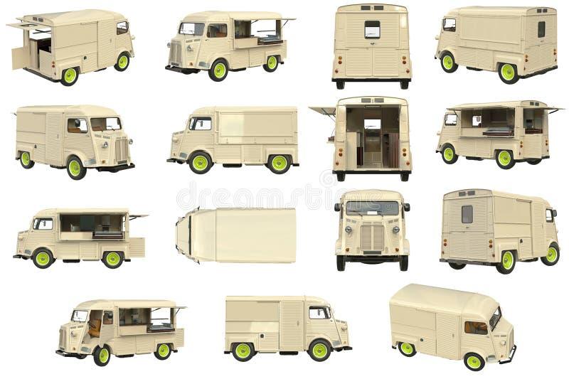 Jedzenie kawiarni ciężarowy set royalty ilustracja