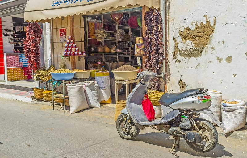 Jedzenie kram w rynku Monastir obraz stock