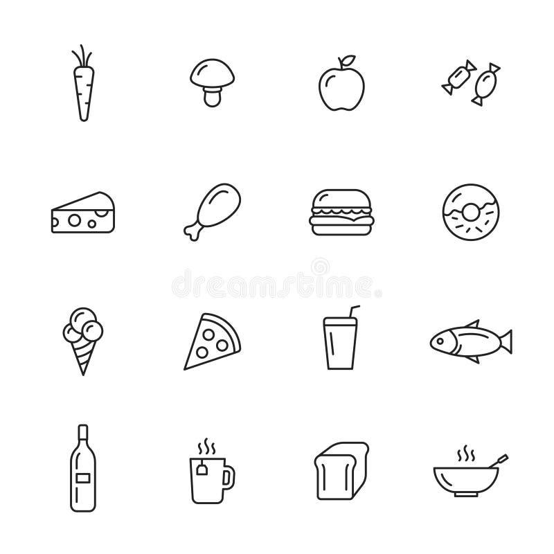 Jedzenie kreskowe ikony royalty ilustracja