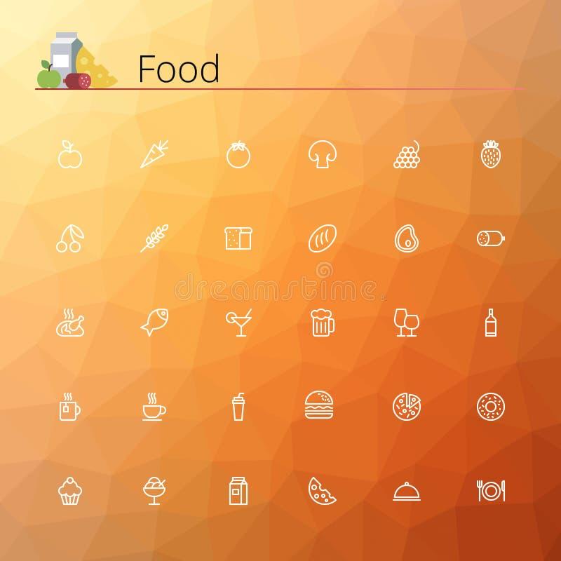 Jedzenie kreskowe ikony ilustracja wektor
