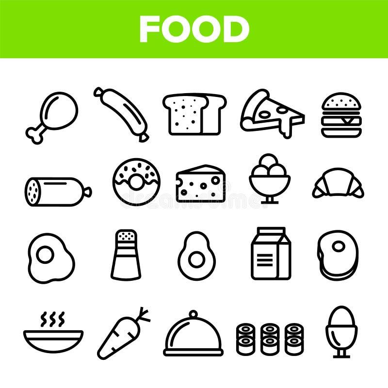 Jedzenie Kreskowej ikony Ustalony wektor Domowe Kuchenne Śniadaniowego jedzenia ikony Menu piktogram Fesh łasowania element Cieni ilustracji