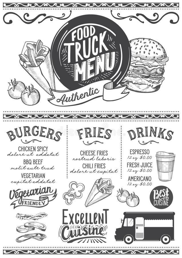 Jedzenie menu ciężarowy szablon royalty ilustracja