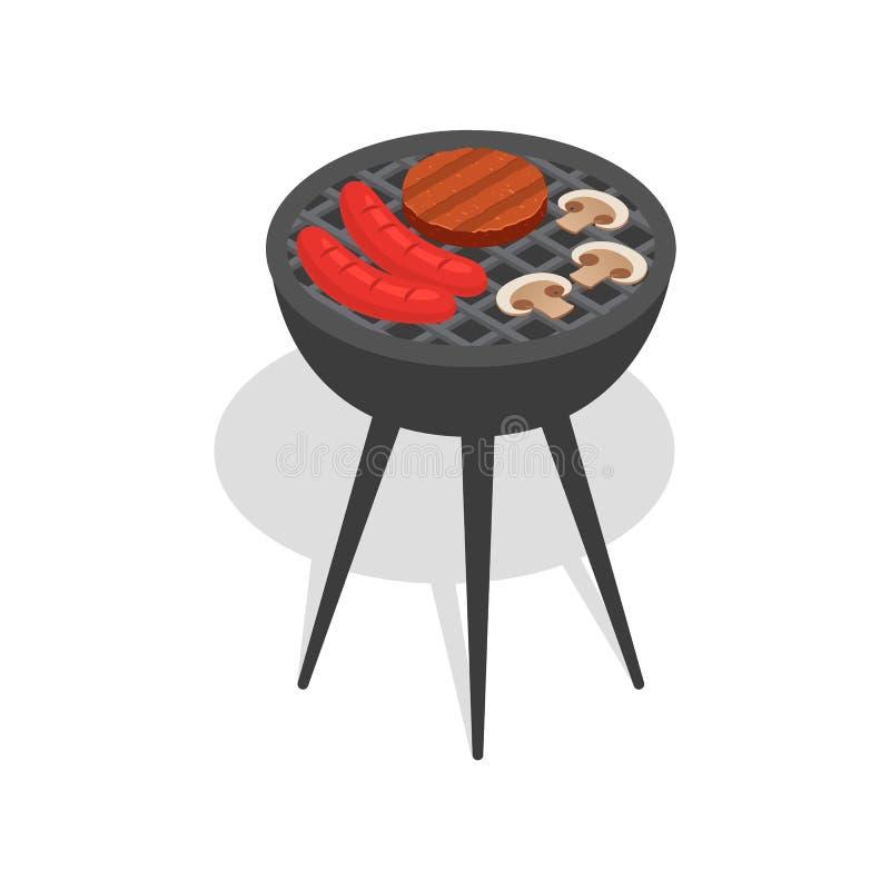 Jedzenie na bbq stojaka ikonie, isometric styl ilustracja wektor