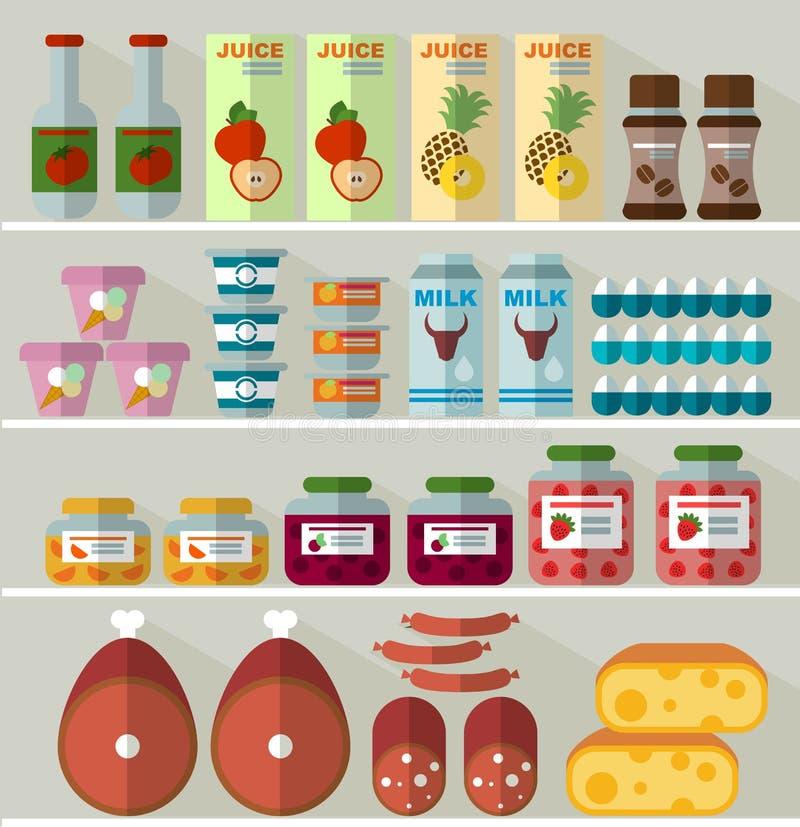 Jedzenie na półkach sklep royalty ilustracja