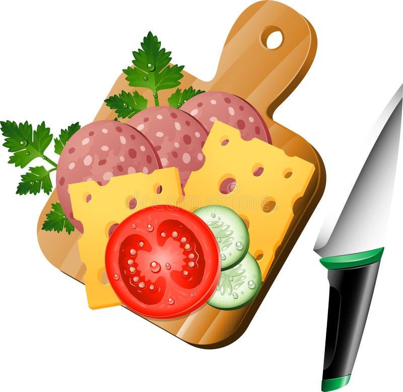 Jedzenie na tnącej desce ilustracja wektor