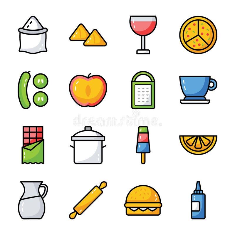 Jedzenie, napój i kuchni naczyń paczka, royalty ilustracja